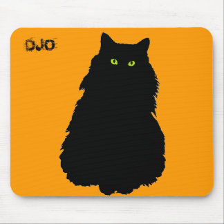 Fat Black Cat and Orange Mouse Pad