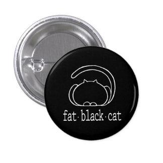 fat black cat button