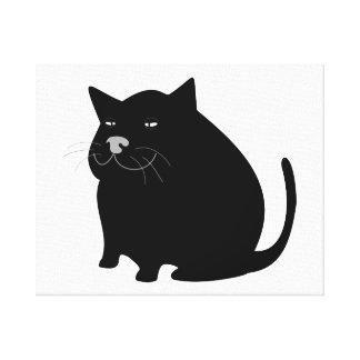 Fat Black Cat Canvas Print