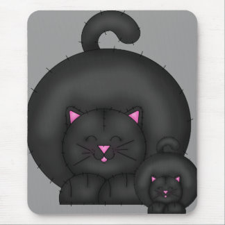 FAT BLACK CAT MOUSE PAD
