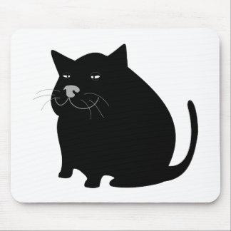 Fat Black Cat Mouse Pads