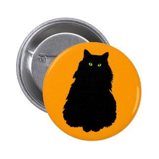 Fat Black Cat on Orange Button