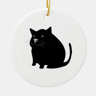 Fat Black Cat Double-Sided Ceramic Round Christmas Ornament