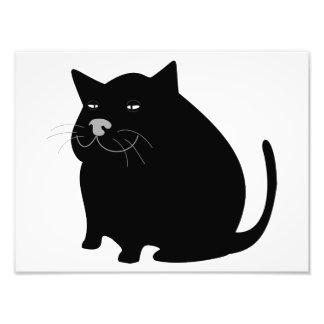 Fat Black Cat Photo Print