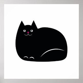 Fat Black Cat Poster
