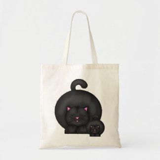 FAT BLACK CAT TOTE BAG