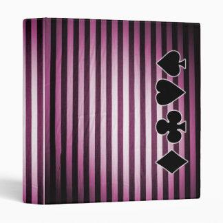 Fat Black & Pink Stripes & Card Suits 3 Ring Binder
