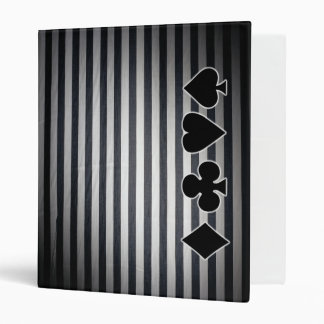 Fat Black & White Stripes & Card Suits 3 Ring Binders