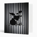 Fat Black & White Stripes - Drum Kit Silhouette 3 Ring Binder