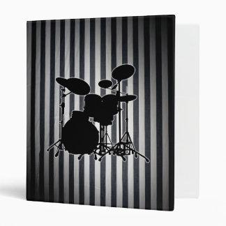 Fat Black & White Stripes - Drum Kit Silhouette Vinyl Binder