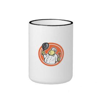 Fat Buddha Chef Cook Holding Pan Circle Cartoon Coffee Mugs
