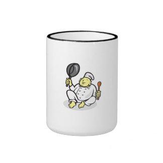Fat Buddha Chef Cook Sitting Cartoon Mug