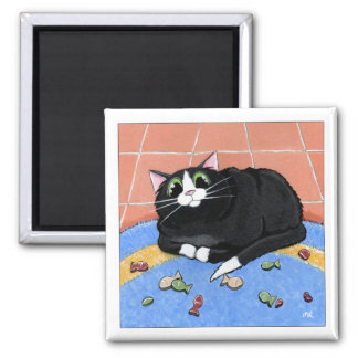 Fat Cat and a Rug of Fish Biscuits | Cat Art 2 Inch Square Magnet