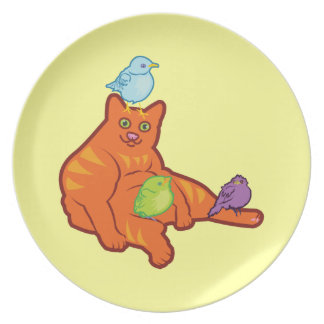 Fat Cat and BIrds Plates