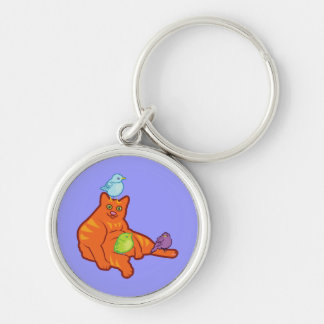 Fat Cat and BIrds Silver-Colored Round Keychain