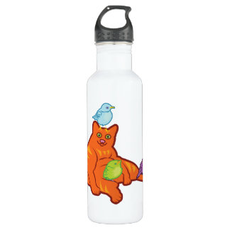 Fat Cat and BIrds Stainless Steel Water Bottle
