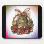 Fat Cat Christmas Basket Mouse Pad