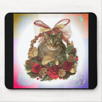 Fat Cat Christmas Basket Mouse Pad