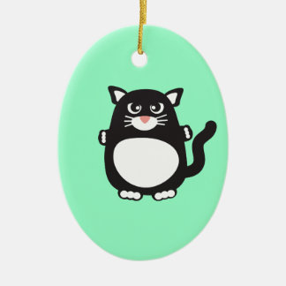 Fat Cat Double-Sided Oval Ceramic Christmas Ornament