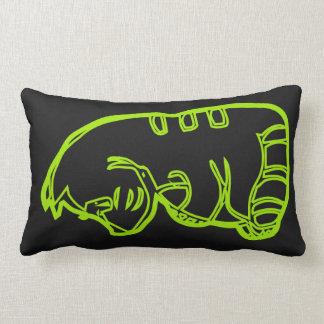 Fat cat green on black lumbar pillow