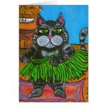 Fat Cat in a Hula Skirt Card