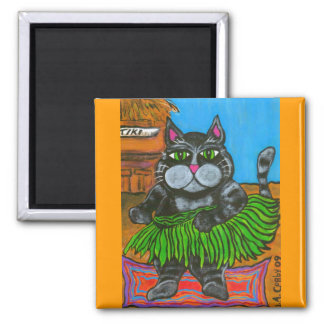Fat Cat in a Hula Skirt Magnet
