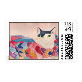 Fat cat in colorful Scarf Postage