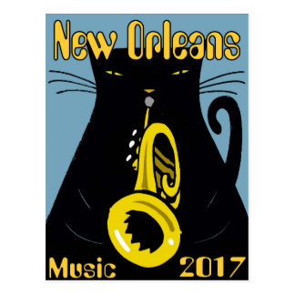 Fat Cat New Orleans Music 2017 Postcard