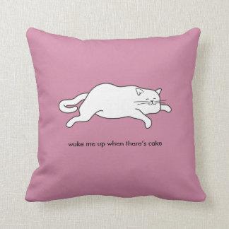 fat cat on cake throw pillow