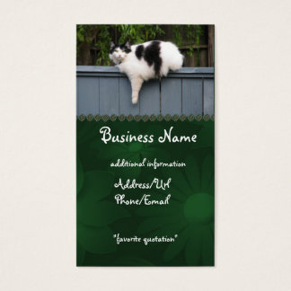 Fat Cat On Fence Business Card