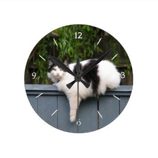 Fat Cat On Fence Round Wallclock