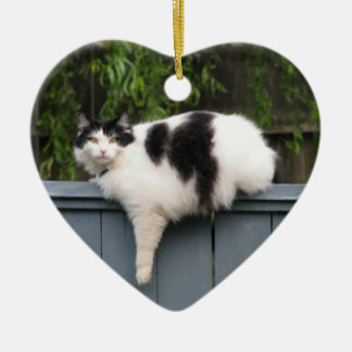 Fat Cat On Fence Double-Sided Heart Ceramic Christmas Ornament