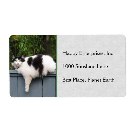 Fat Cat On Fence Shipping Label