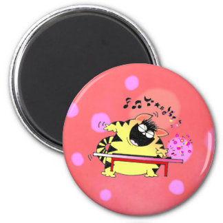 Fat Cat Play Keyboard 2 Inch Round Magnet