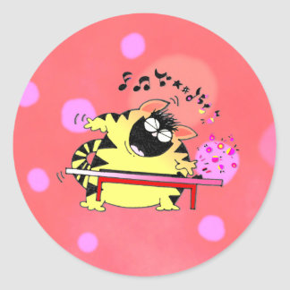 Fat Cat Play Keyboard Classic Round Sticker