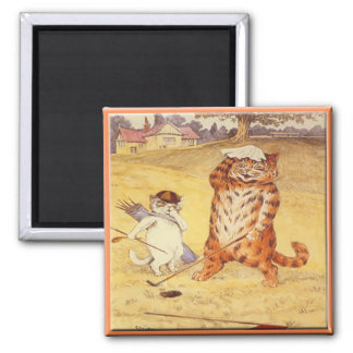Fat Cat playing golf 2 Inch Square Magnet