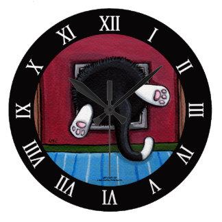 Fat Cat Stuck in Cat Flap - Bit of a Squeeze Large Clock