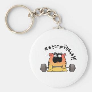 Fat Cat Weight Lift Keychain