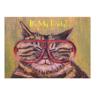 Fat Cat With Glasses Party Invite