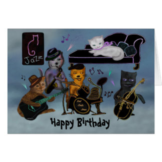 Fat Cats Birthday Jam Greeting Cards