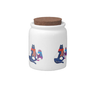 Fat Cats in Scarves Candy Jars