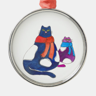 Fat Cats in Scarves Ornament