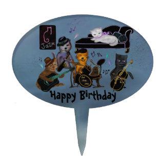 Fat Cats Jam Happy Birthday Cake Topper