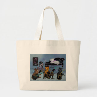 Fat Cats Jam Large Tote Bag