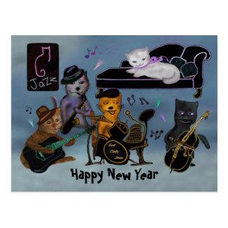 Fat Cats New Year Jam Postcard