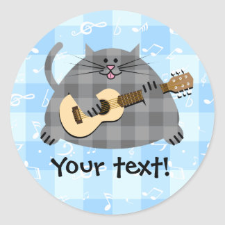 Fat Checkered Country Kitty Cat Acoustic Guitar Classic Round Sticker