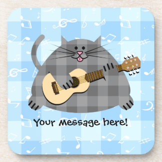 Fat Checkered Country Kitty Cat Acoustic Guitar Drink Coaster