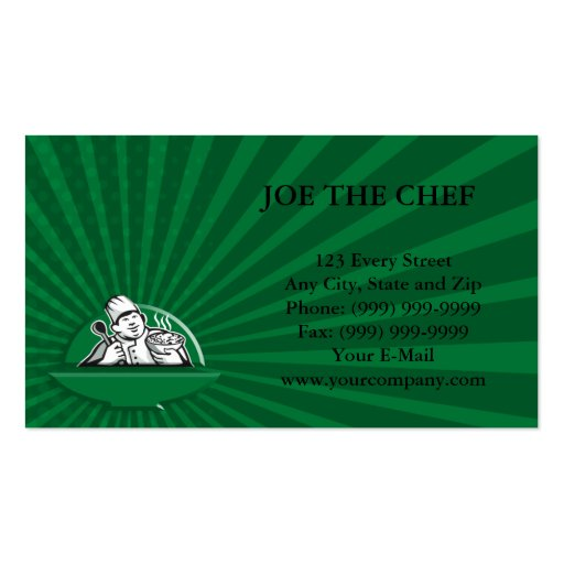 Fat Chef Cook Holding Bowl Spoon Retro Pack Of Standard Business Cards