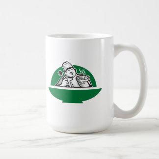 Fat Chef Cook Holding Bowl Spoon Retro Coffee Mugs