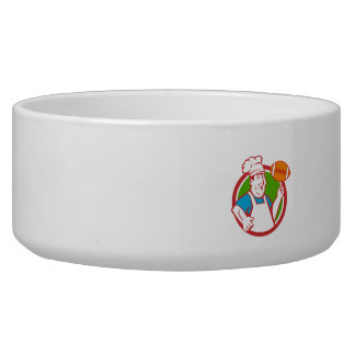 Fat Chef Cook Twirling Football Circle Retro Bowl